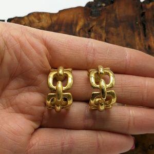 Vintage Trifari chain link hoop gold 90s classic